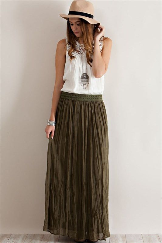 inspiration for my olive green maxi skirt