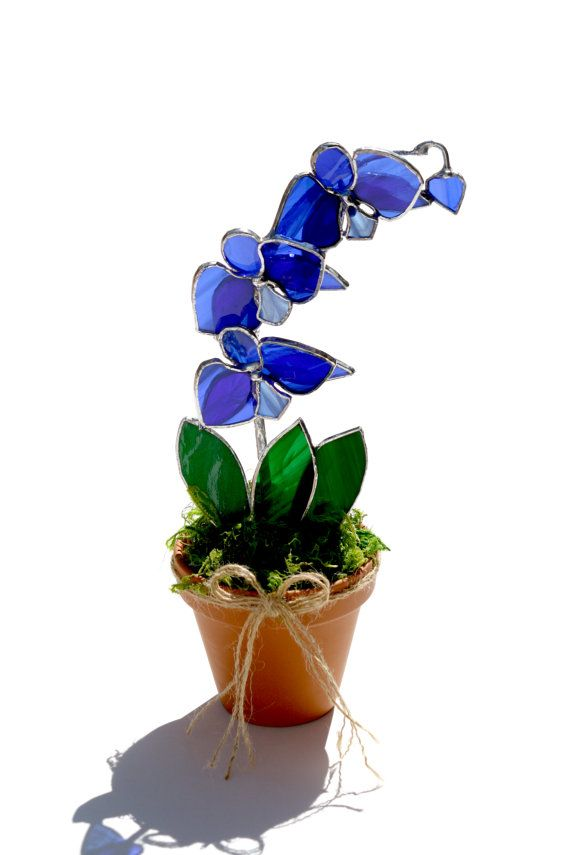 Large+Stained+Glass+Potted+Orchid+Suncatcher+Blue+by+GalaGardens,+$46.50