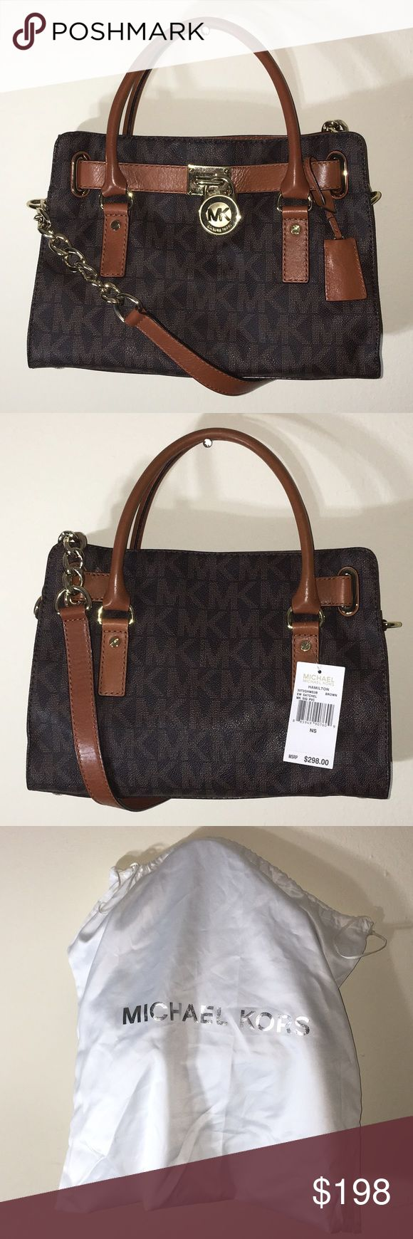 Michael Kors brown logo Hamilton Satchel with tag This is a 100% authentic MK bag with tag attached as shown in photo. It was the one on display, so there is very slight normal wear and tear from it being the one on display. Comes with dust bag. Was a gift --- too small for what I needed it for. Michael Kors Bags Satchels