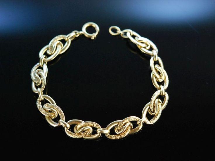 Lovely antique gold bracelet! Um 1930! Hübsches Armband Gold 585 mit graviertem Ornament Dekor, schöner Antikschmuck bei Die Halsbandaffaire München
