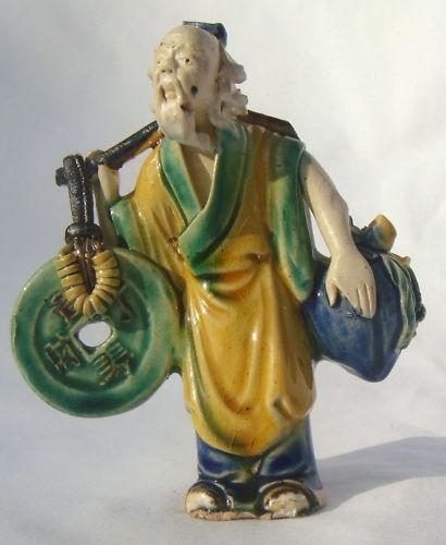 Shekwan Ceramic Chinese MUDMAN Carrying Green Symbol