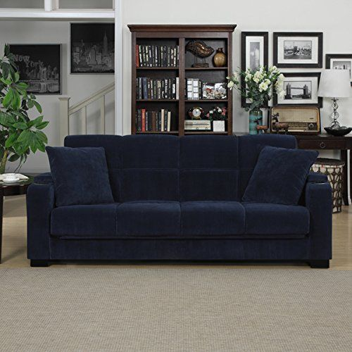 Amazon.com: Blue Transitional Tevin Navy Velvet Convert-a-Couch Storage Arm Futon Sofa: Home & Kitchen