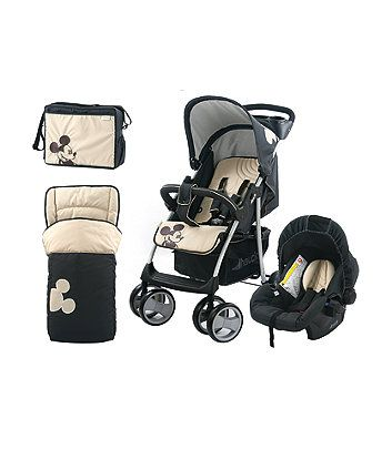 The Hauck Disney baby shopper travel system features a gorgeous classic Mickey Mouse print. It includes everything you need for a day out with your baby and comes complete with a car seat, footmuff, changing bag and raincover.