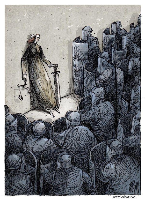 JUSTICE IN MEXICO | Nov/25/24 Angel Boligan - El Universal, Mexico City, www.caglecartoons.com - La encapsulada / - justicia, policía, violencia, mexico, represión, granaderos, encapsulada, detenidos, ayotzinapa
