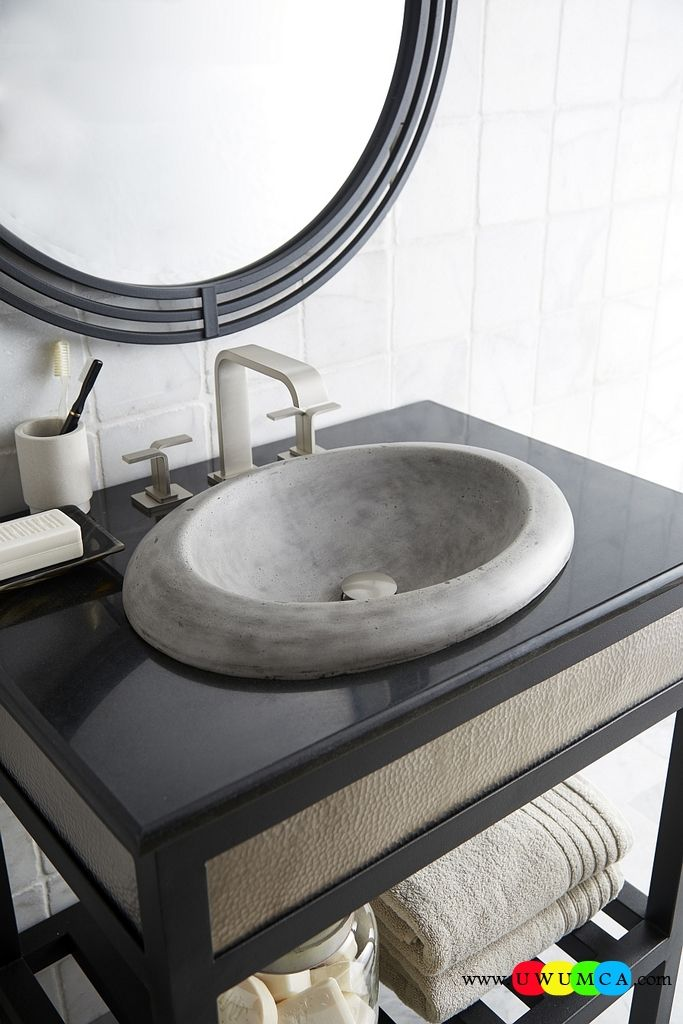 Bathroom:Contemporary Modern Artisan Crafted Sinks Handcrafted Vessel Metal Sink Bathroom Interior Furniture Decor Design Ideas Cuyama Traditional Oval Bathroom Sink In Ash Eco-Conscious, Artisan Crafted Sinks Sparkle With Contemporary Class