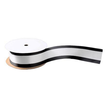 "1.5"" White ribbon w/black border - anniversary cyo diy gift idea presents party celebration"