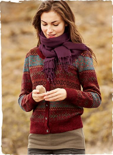 Rendered in cheery hues of cranberry, bittersweet, burgundy and grey, our mid-weight Fair Isle cardigan is knit of snuggly, soft alpaca, with a rounded neck and ribbed trim.