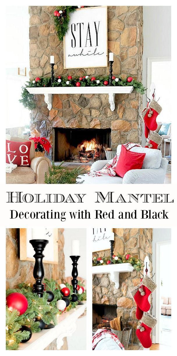 Decorating a Holiday Mantel Using Red and Black Christmas