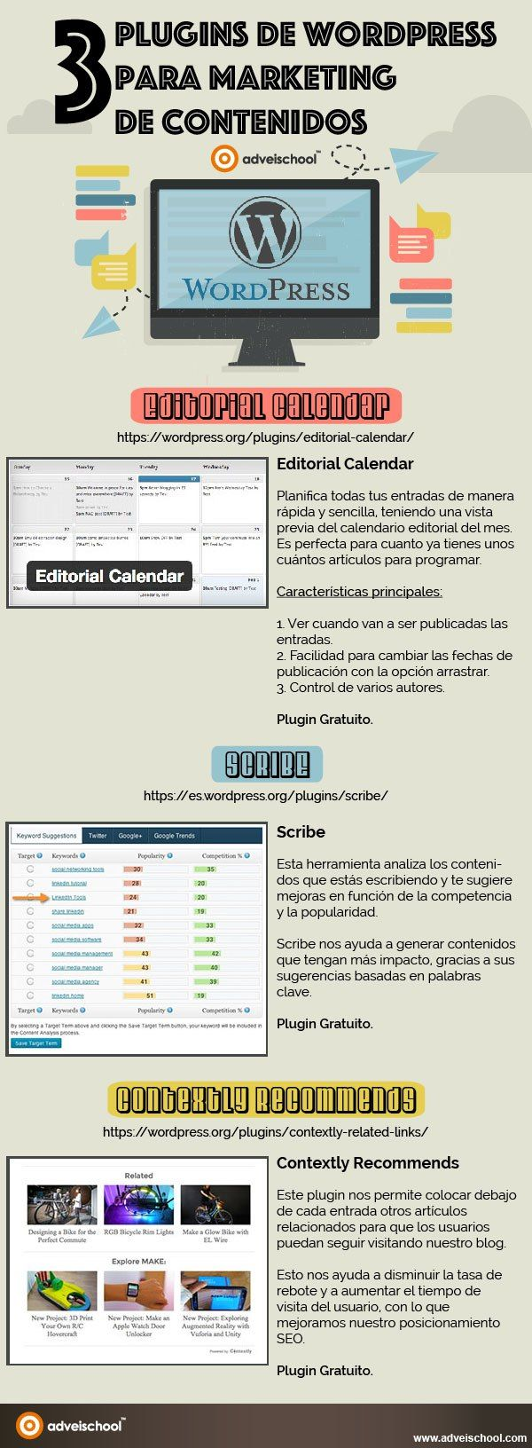 3 plugins sobre marketing de contenidos para WordPress #infografia #infographic #marketing | TICs y Formación