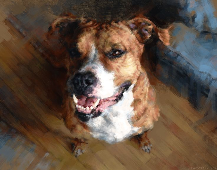 Digital painting.  Styled portrait of a red dog by Lindsey Lively.