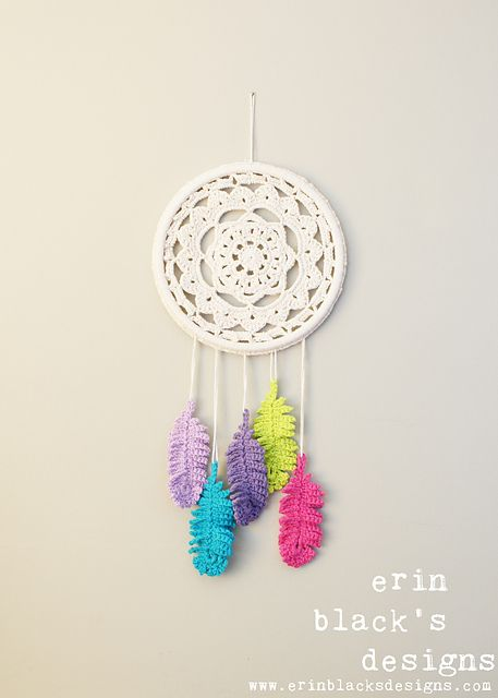 "Ravelry: Dreaming of Feathers Dreamcatcher Inspired 10"" diameter Mobile and Wall Hanging (HomDec007) pattern by Erin Black"