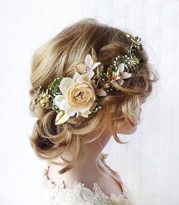 victorian style bridal hairpiece flower girl crown boho wedding ivory and beige rose tiara woodland fairy tiara Cream rose crown