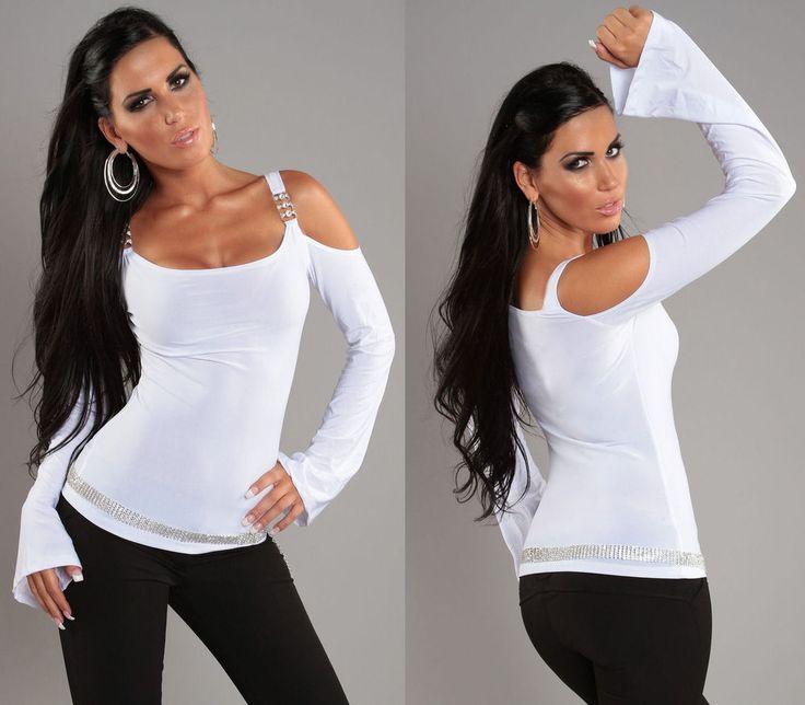 TOP SEXY HAUT FEMME BLANC MANCHES LONGUES ÉPAULES NUES FASHION SHIRT T.S/M 36/38