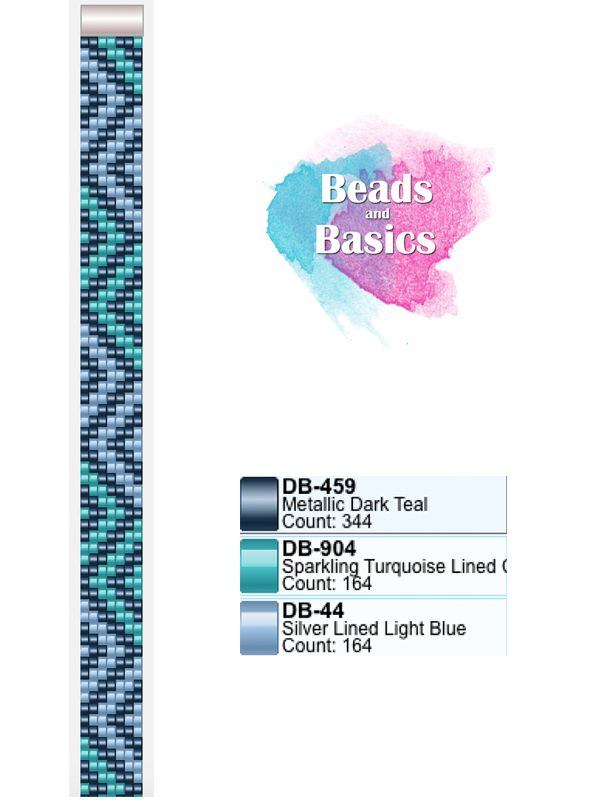 blue chevron miyuki delica beadloom pattern - patronen voor weefarmbandjes