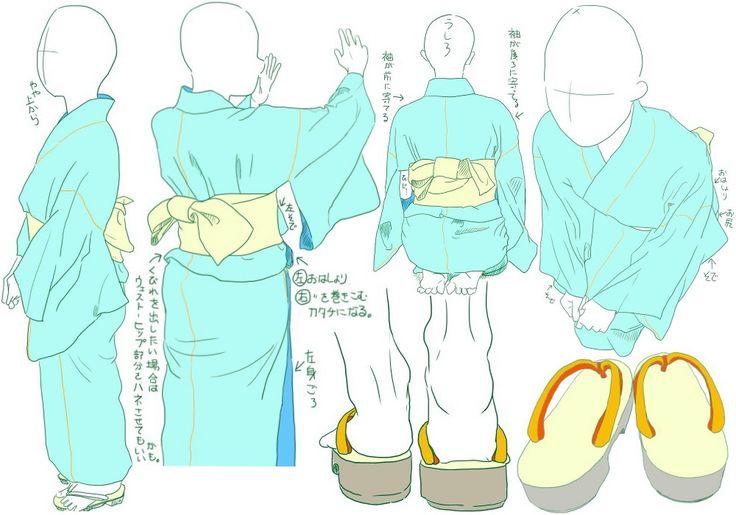 Kimono poses 2/3: female yukata, by Mizunoe - Tanuki+Kimono