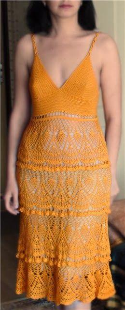 Nana crochê: Vestido de crochê laranja
