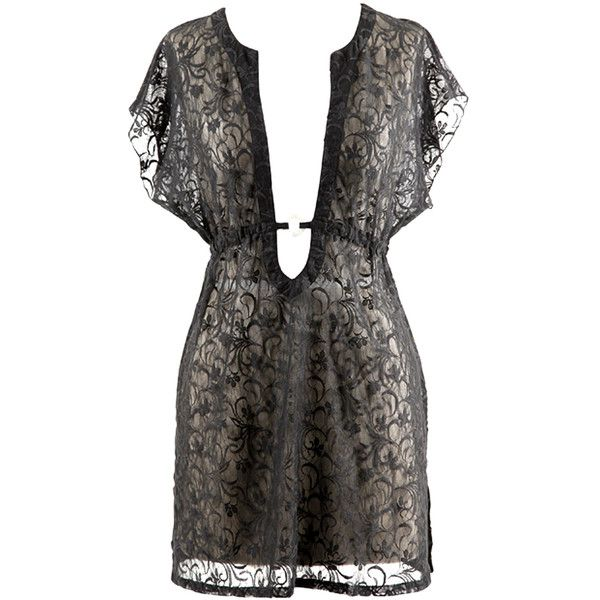Black Sheer Lace Pull Over Sexy O-Ring Beach Cover-Up ($25) ❤ liked on Polyvore featuring swimwear, cover-ups, dresses, black, cover ups, sexy swim cover up, highwaist swimwear, long cover ups, sexy cover ups and high rise swimwear