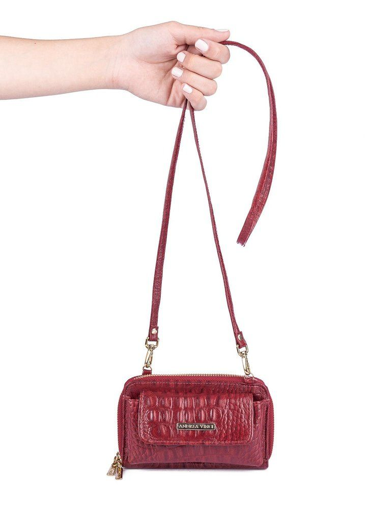ff7a2f11004b0 Carteira Mini Bag Mary com alça em couro legítimo vermelha em 2019 ...