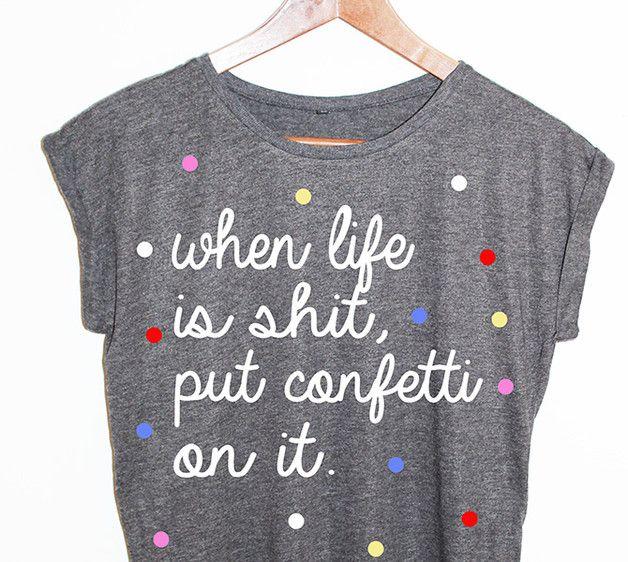 T-Shirts mit Spruch – Shirt Konfetti Blogger Hipster Vintage Punkte – ein Designerstück von KitschUndKrempel bei DaWanda