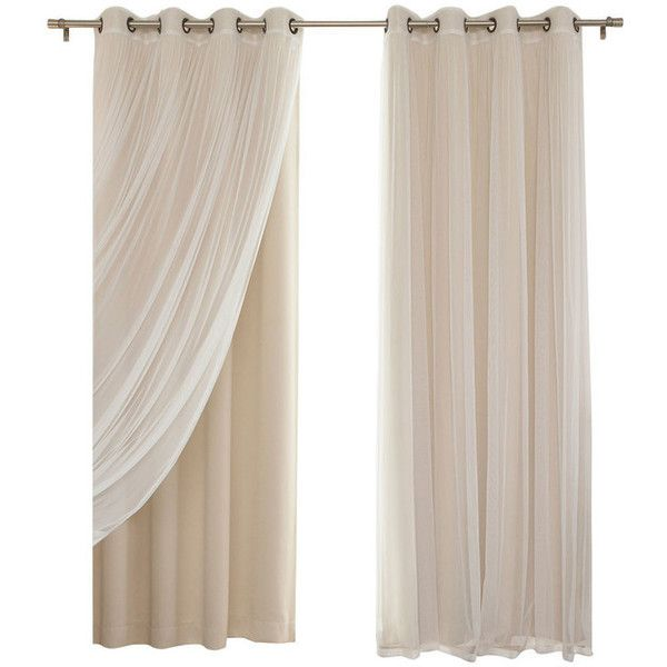 Gathered Tulle Sheer and Blackout 4-Piece Curtain Set, Beige, 84 ... ❤ liked on Polyvore featuring home, home decor, window treatments, curtains, ivory curtains, cream curtains, sheer window treatments, sheer draperies and off white sheer curtains