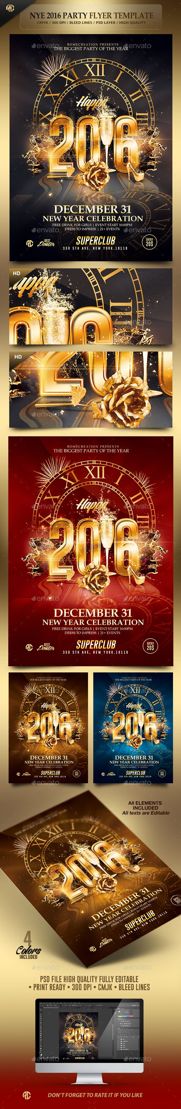 2016 New Year Party Flyer Template PSD #design #nye Download: http://graphicriver.net/item/2016-new-year-party-psd-flyer-template/13465625?ref=ksioks