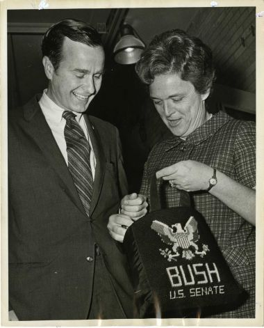 05/02/1970 - U.S. Senate candidate George Bush and his wife, Barbara, rummage in her bag at their voting precinct in the Texas Republican Primary election.