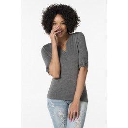 Heather charcoal 3/4 sleeve shirt