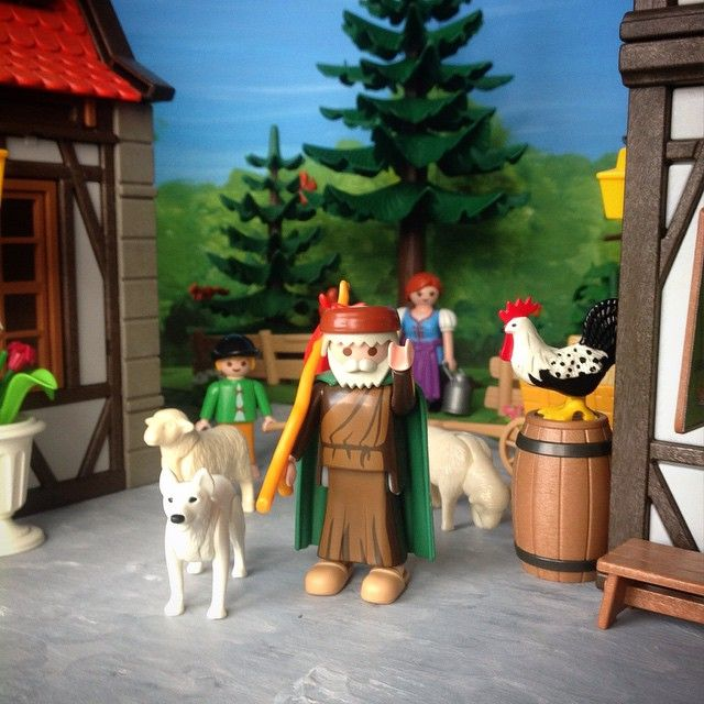 About once or twice a month shepherd Bartholomew Dawkins comes down to the village in the forest from the highlands to the south. He always brings his dog Blanchard, usually his grandson Peter, and typically a couple of sheep. #Bartholomew #shepherd #sheep #sheepdog #forest_village #playmobil #playmobilcollectorclub #toyphotography #clicks