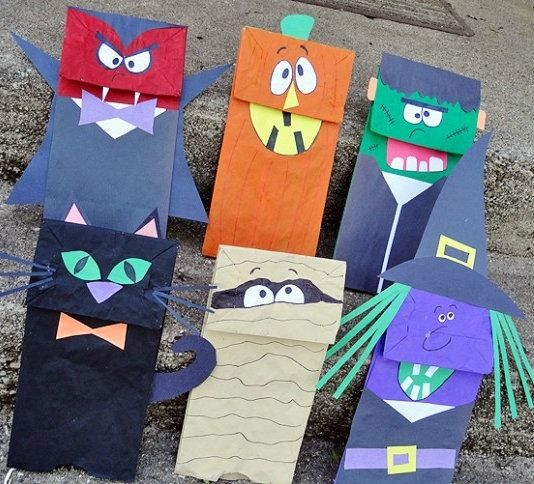 bolsitas de monstruos de papel para halloween