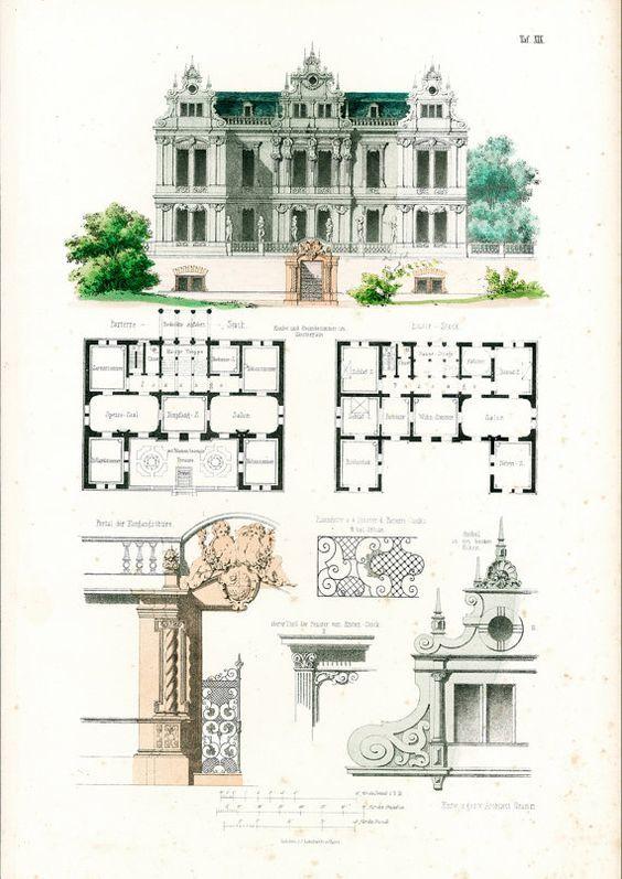 1854 Château style Louis XIV plans d'architecte Format A3 gravure ancienne Esquisse Dessin Plan Détails architecturaux avec Passe-partout