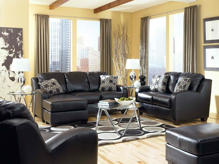 Devin Durablend Black Leather Living Room Set: Sofa Chaise, Loveseat And  Chair Part 90