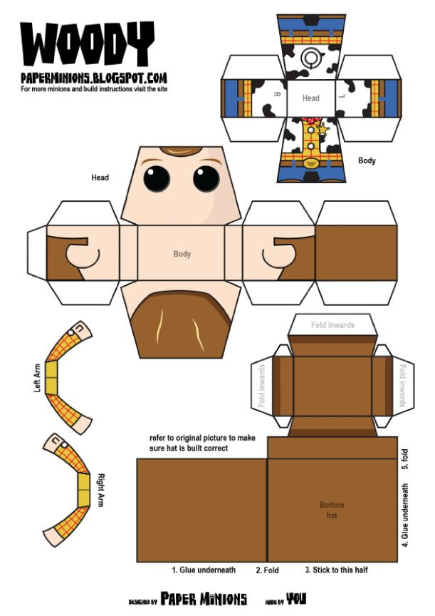 Blog Paper Toy papertoys Paper Minions Woody template preview Woody Buzz de Paper Minions
