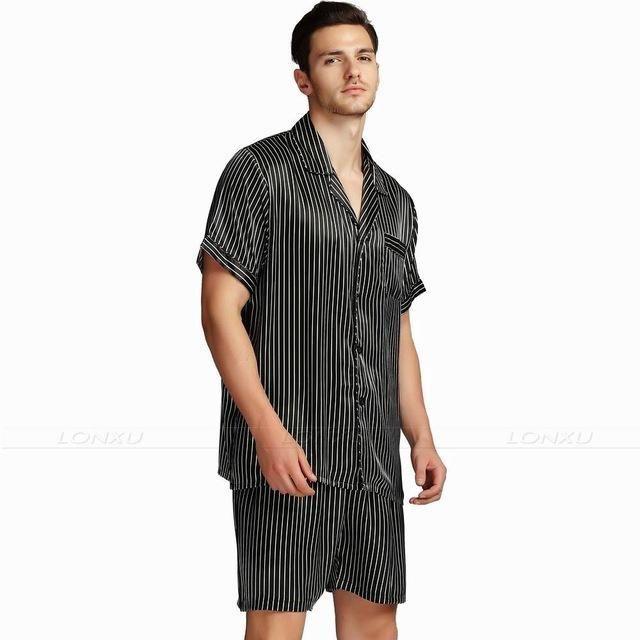 Mens Pyjams Silk Satin Sleepwear Pajama Shorts Set