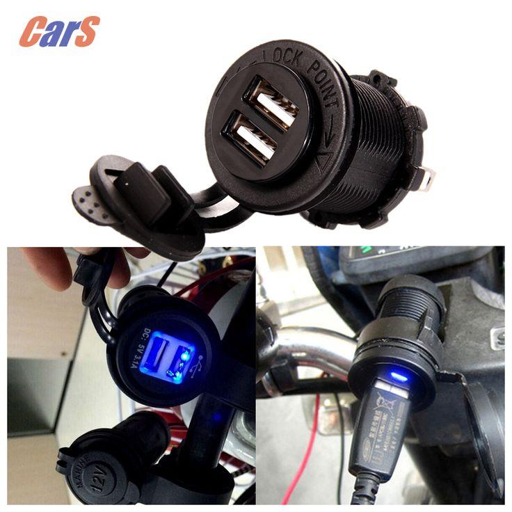 Cigarrillo de la motocicleta impermeable 5 v 3.1a dual usb cargador de la motocicleta toma de corriente del panel montaje de carga para iphone/ipad