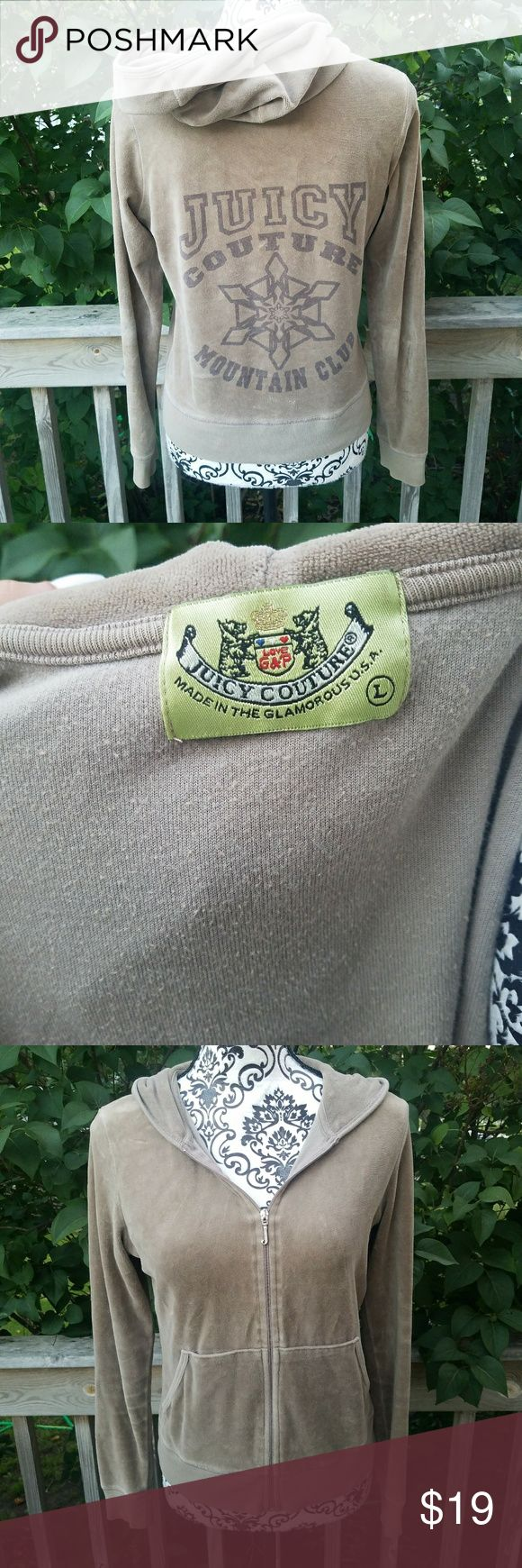 """Juicy Couture Mountain Club Velour Brown Jacket Gray/brown color *In EUC, no fading nor stains *size large, runs small in length size- will fit a M *Velour material  *""""J"""" zipper Juicy Couture Jackets & Coats"""