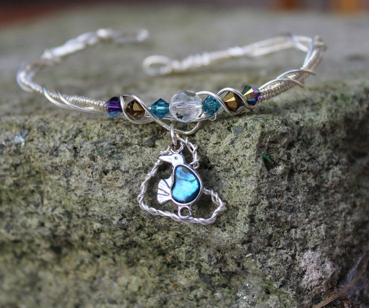 Turquoise bird bracelet /blue kiwi silver bracelet / bird pendant / filigree bracelet / beaded bracelet / kiwi pendant by RhubarbTabard on Etsy