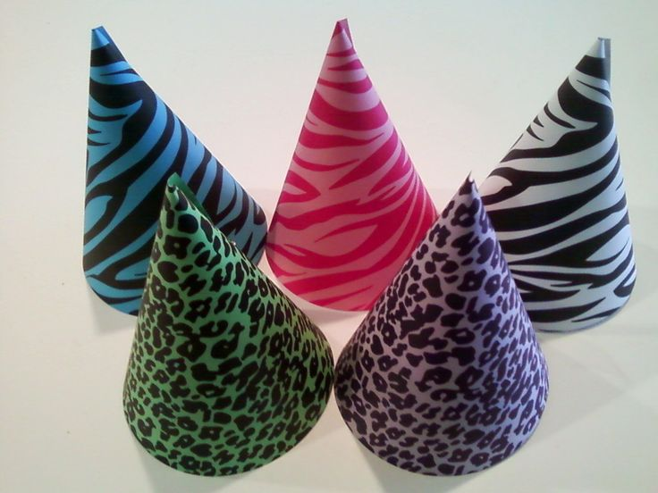 ANIMAL PRINT Party Hats (Set of 5) -- Zebra and leopard prints in blue, pink, green, purple, and white. $10.00, via Etsy.