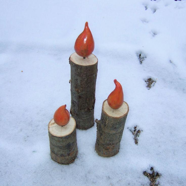 Kerzen aus Holz und Keramik