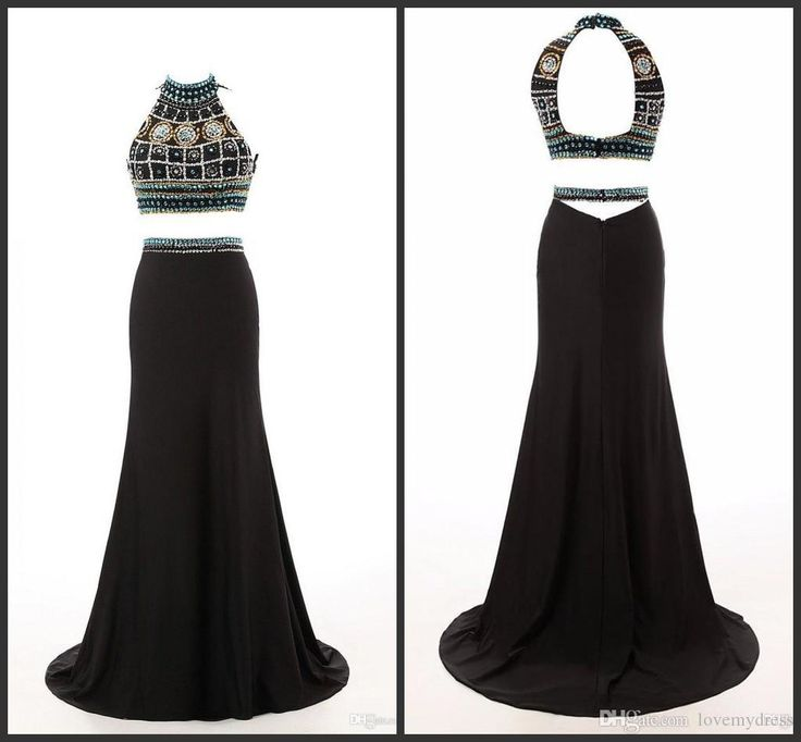 Custom Hot Two Pieces Prom Dresses High Neck Black Big Rhinestons Chiffon Backless See Through Long Organza Gowns Party Pageant Dress Prom Dress Patterns Prom Dress Shops Uk From Lovemydress, $111.91| Dhgate.Com