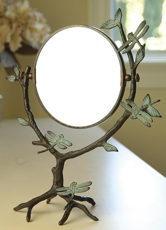 Dragonfly on Branch Mirror - Makeup Mirror -  Magnifying Mirror -  Tabletop Mirror | HomeDecorators.com