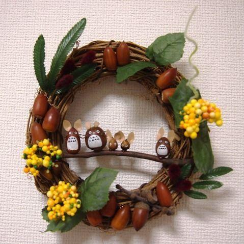 100均アイテム&どんぐりの手作りトトロリースで秋の思い出作り♪ Diy And Crafts, Crafts For Kids, Bra Hacks, Nature Crafts, Totoro, Handmade Toys, Grapevine Wreath, Floral Wreath, Wreaths