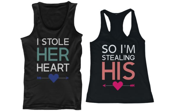 couple shirts I stole her heart so I'm stealing his