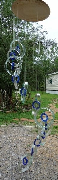 RECYCLING WINE & BACARDI bottles into functional abstract artful windchimes