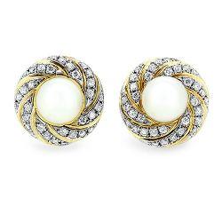 South Sea Pearl and 1.00cts Diamond Stud Earrings
