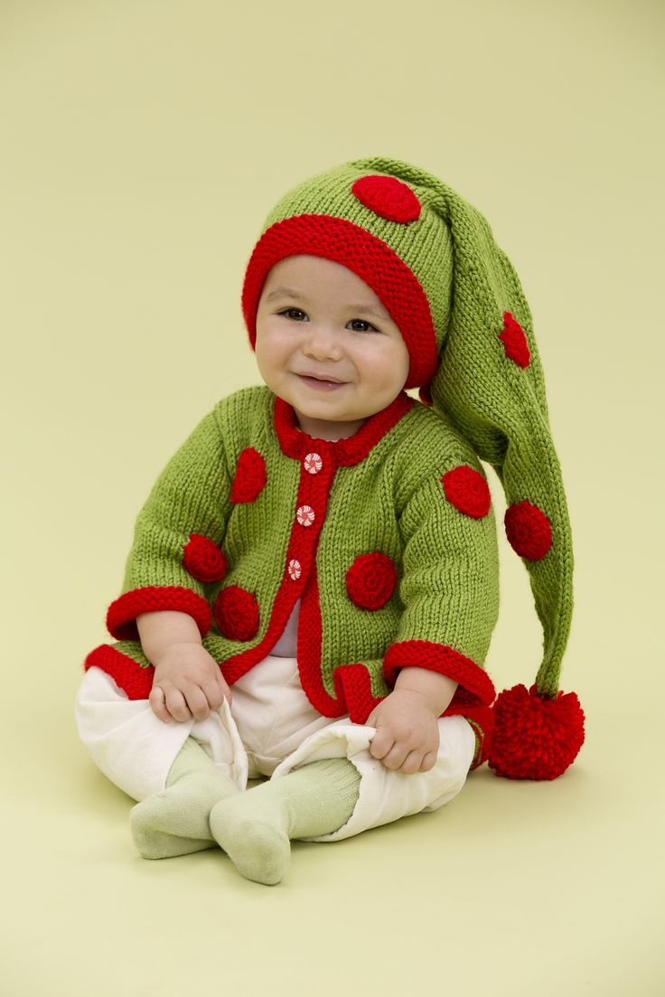 Free Knitting Pattern for Santas Baby Elf - #ad Baby hat and sweater set...