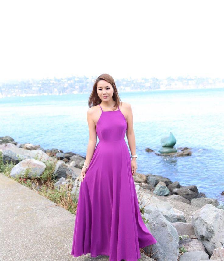 Crisscross Purple Maxi Dress