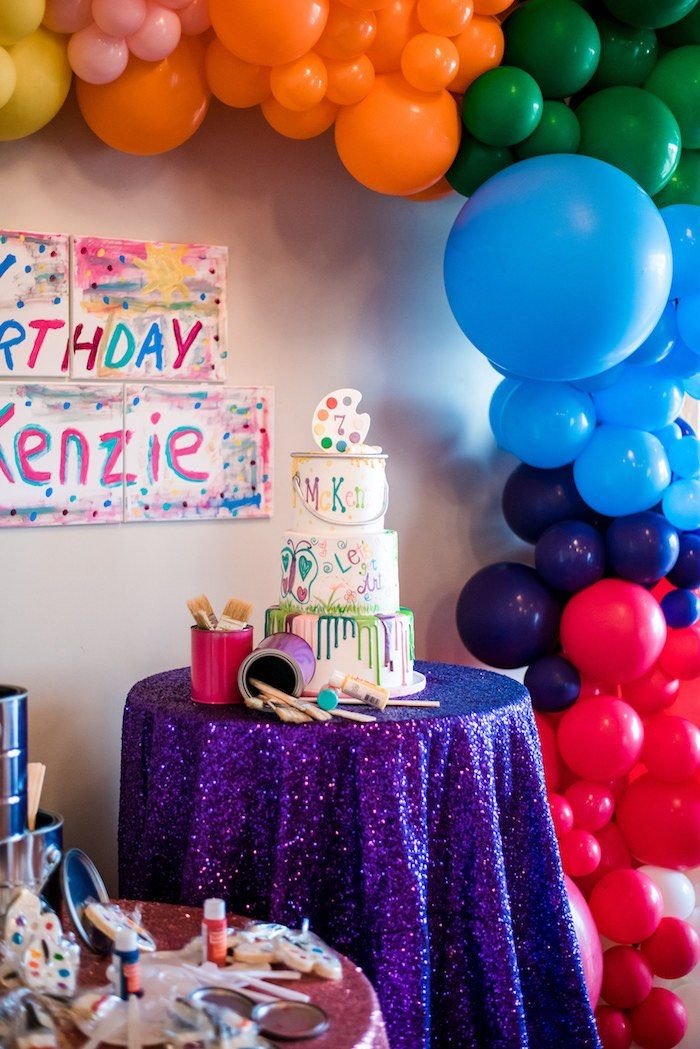 Colorful Art Party Art Party Cakes Art Party Art Birthday Party