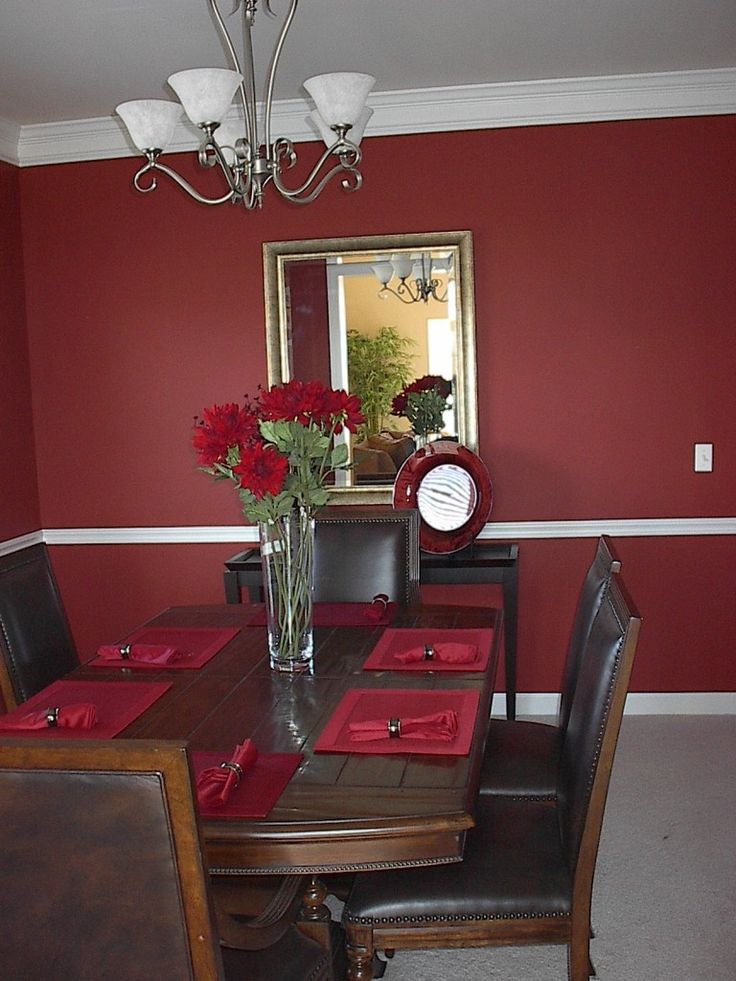 Dark Red And White Colors For Dining Room Painting Ideas With Classic Brown Wood Ellipse Shaped