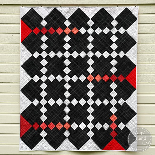 This PDF Quilt Pattern Is Called Color Injection Inspired By An Amish Modern Take On Irish Chain Plays With Negative Space