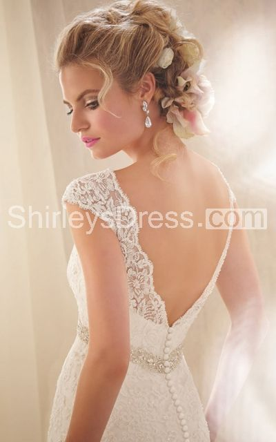 Classic Off-shoulder Lace-appliqued Net Train Wedding Gown With Beaded Empire